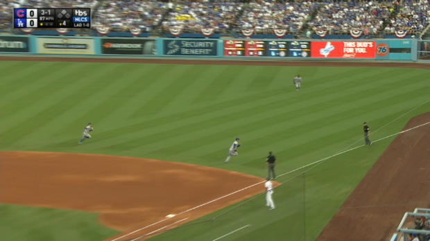 Baez's tough running grab