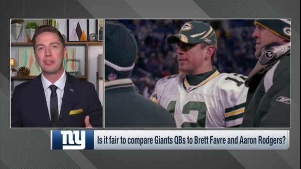 Are the New York Giants quarterbacks comparable to Green Bay Packers quarterbacks Brett Favre and Aaron Rodgers?