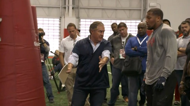 New England Patriots head coach Bill Belichick coaches defensive end Bradley Chubb at NC State pro day