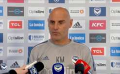 Kevin Muscat chats to the media before Melbourne Victory fly to Brisbane to take on Roar in the FFA Cup.
