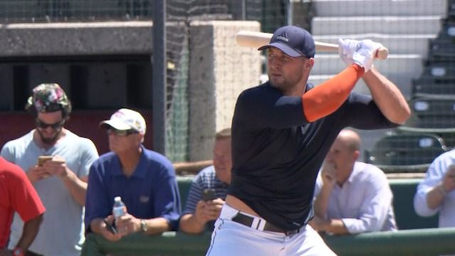 Tim Tebow baseball workout highlights at USC