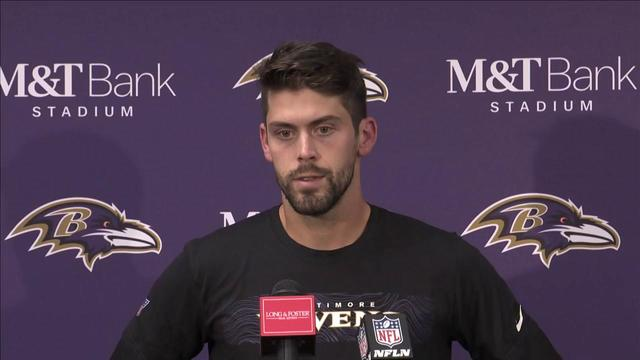 Baltimore Ravens kicker Justin Tucker reacts to first missed extra point of career