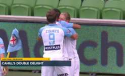 A first-half brace from Tim Cahill helped Melbourne City to a 2-1 win over the Mariners on Thursday night.