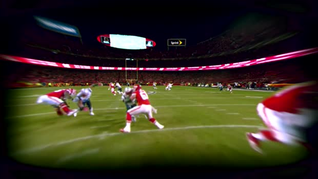 Go inside Kansas City Chiefs QB Patrick Mahomes' helmet as he hits wide receiver Tyreek Hill downfield for a huge gain   True View