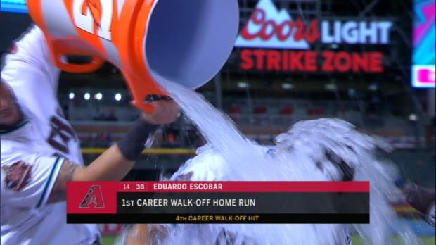 Escobar on walk-off, gets doused