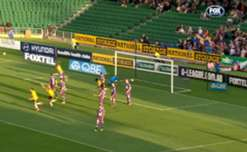 Wellington Phoenix's Vince Lia volleyed home a late goal to help his side beat Glory at nib Stadium.