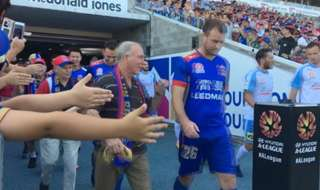 Some of Newcastle Jets' senior Members escorted our players onto the pitch against Sydney FC at McDonald Jones Stadium on Sunday 4 December 2016.