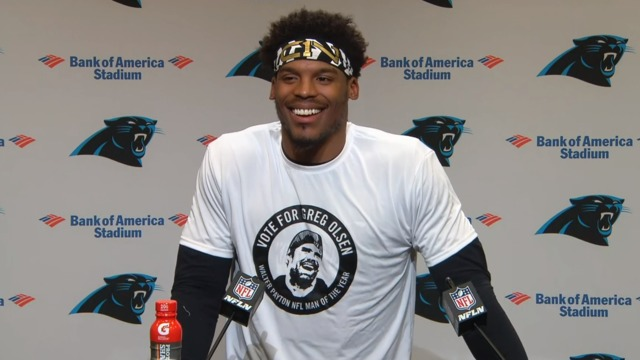 Cam Newton wears shirt supporting Greg Olsen for 'Walter Payton NFL Man of the Year'