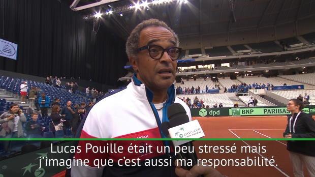 """Tennis : Coupe Davis - Noah - """"Je crois que j?ai transmis un peu de mon stress à Lucas"""""""
