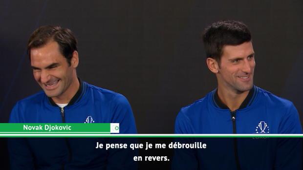 Basket : Laver Cup - Federer et Djokovic plaisantent avant leur double