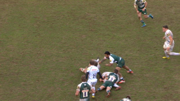 Aviva Premiership - Nice try from Ian Whitten against Leicester Tigers