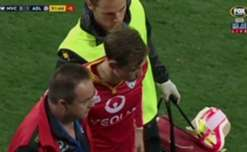 Craig Goodwin suffered a nasty head injury after setting up the Reds late winner against Victory.