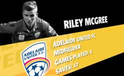 Adelaide United midfielder Riley McGree has been named March's nominee for the NAB Young Footballer of the Year award.