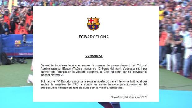 Neymar no viaja a Madrid y el Barcelona se queja del TAD