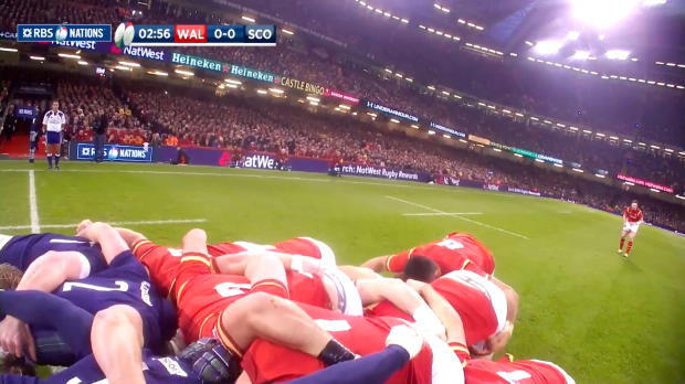 Wales dominate the scrum, Wales v Scotland, 13th February 2016