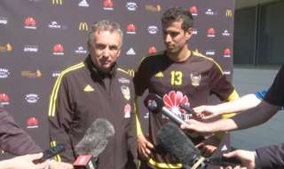 Marco Rossi was cheekily interrupted during his media conference by Ernie Merrick and Roly Bonevacia.