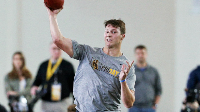 Wyoming quarterback Josh Allen launches his final throw over 80 yards