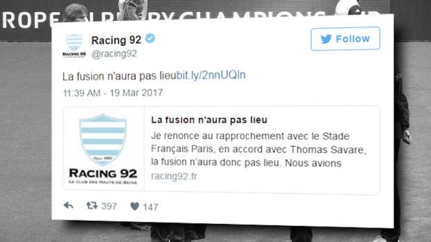 Top 14 - Fusion : Stade Français et Racing 92 font marche arrière !