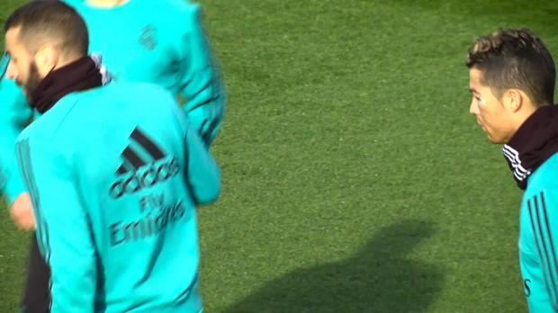 Cristiano Ronaldo mit blauem Auge im Training