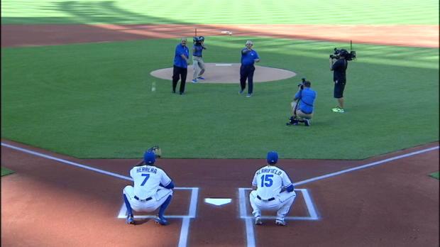 Otis, Rojas toss 1st pitch