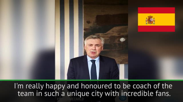 New Napoli boss Ancelotti greets fans in four languages Thumbnail
