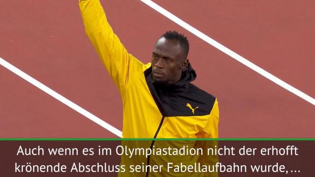 Bewegter Bolt auf seiner letzten Ehrenrunde