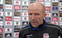 Perth coach Kenny Lowe chats to the media after his team's 1-1 draw in Wellington.