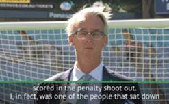 FFA boss David Gallop says he had to sit down once John Aloisi scored the winning penalty in the win over Uruguay in 2005.