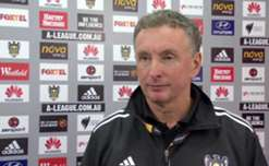 Wellington boss Ernie Merrick talks to the media after his side's 1-1 draw with Perth Glory at Westpac Stadium.