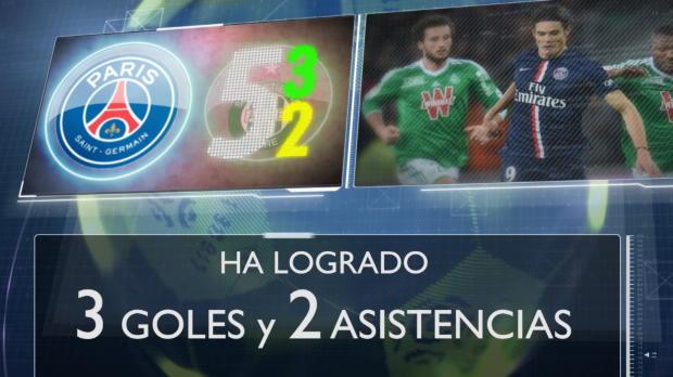 A Cavani se le da bien el Saint Etienne: 2 goles y 3 asistencias