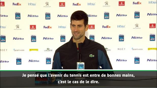 """Tennis : Masters - Djokovic - """"L'avenir du tennis est entre de bonnes mains"""""""
