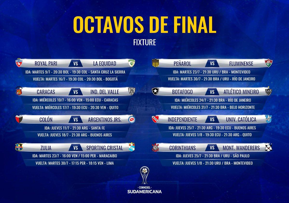 horarios fixture CONMEBOL Sudamericana octavos de final