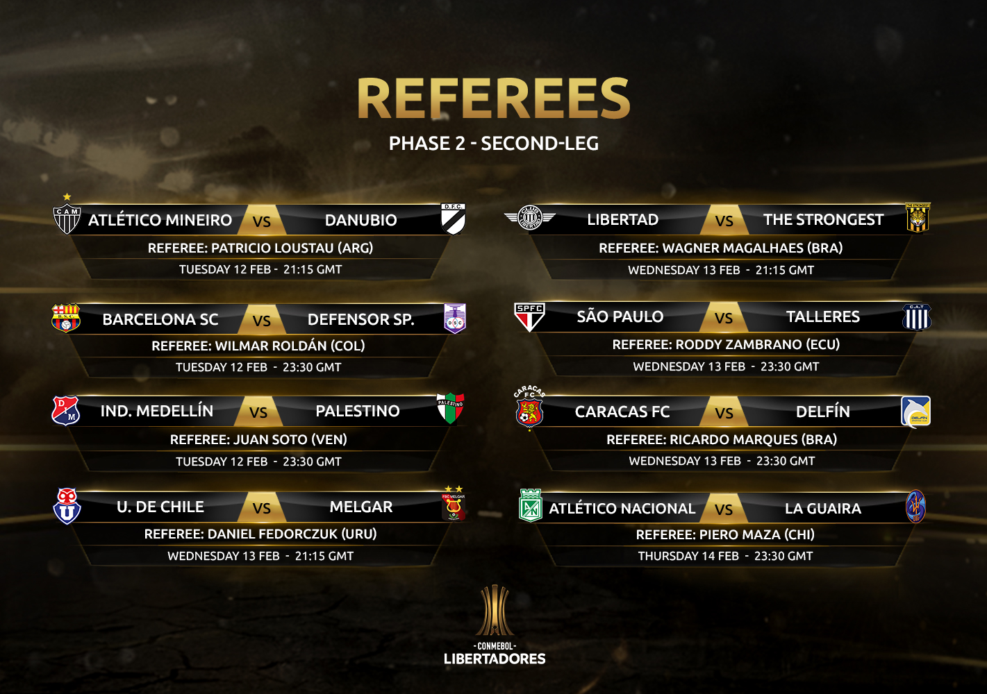 Referees 2nd leg, Phase 2