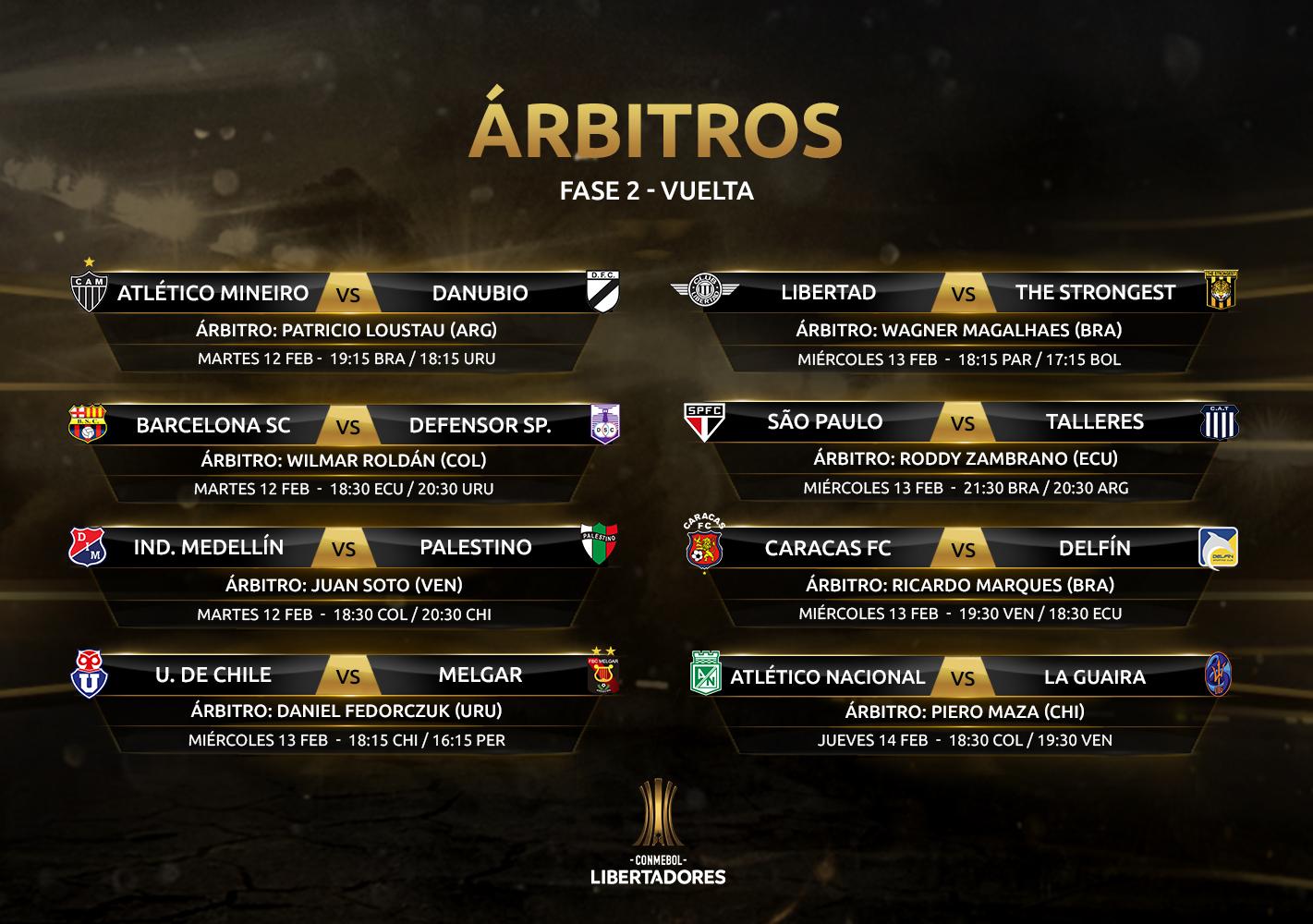 Arbitros revanchas Fase 2 Copa Libertadores 2019