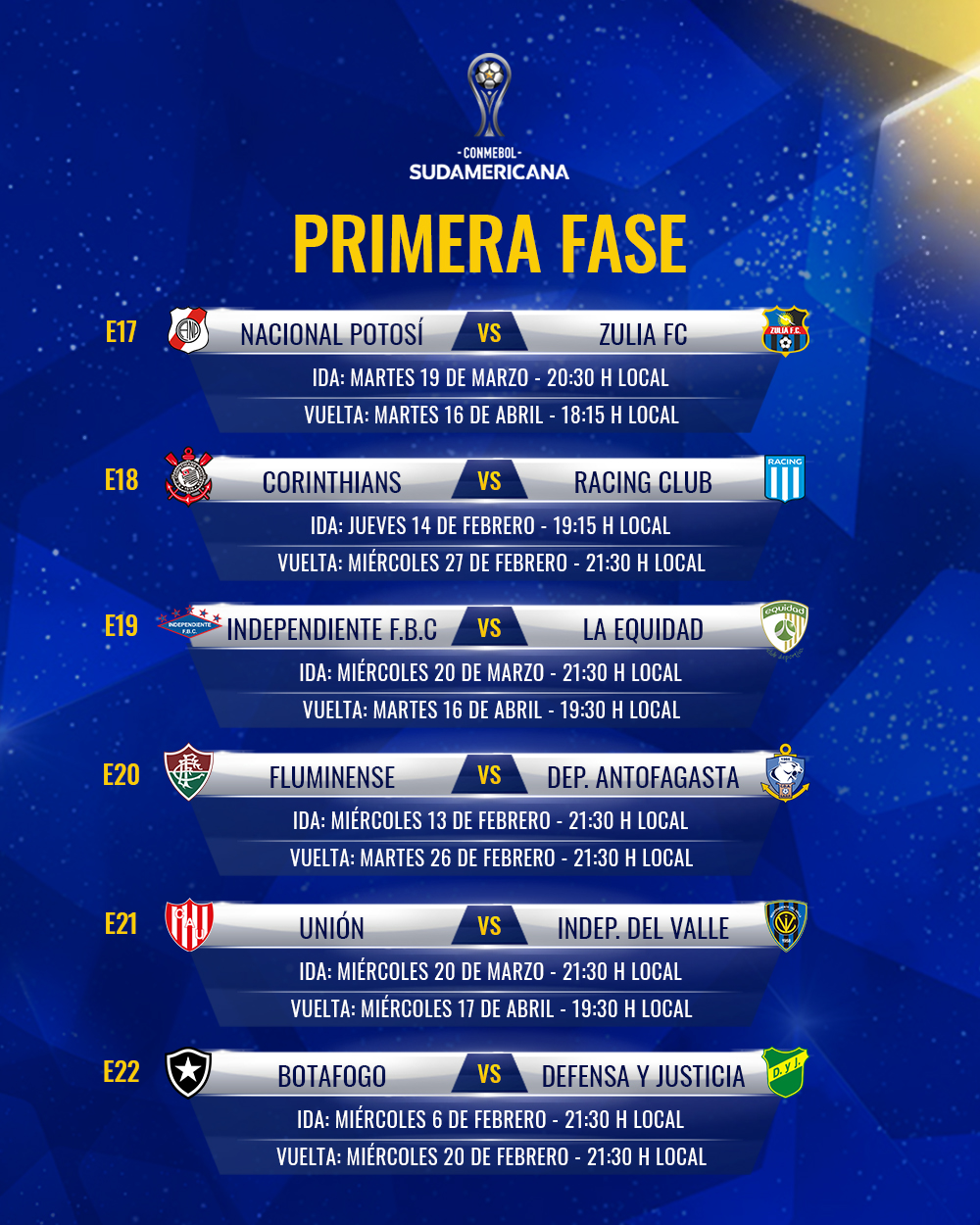 Fixture Fase 1 Copa Sudamericana 2019