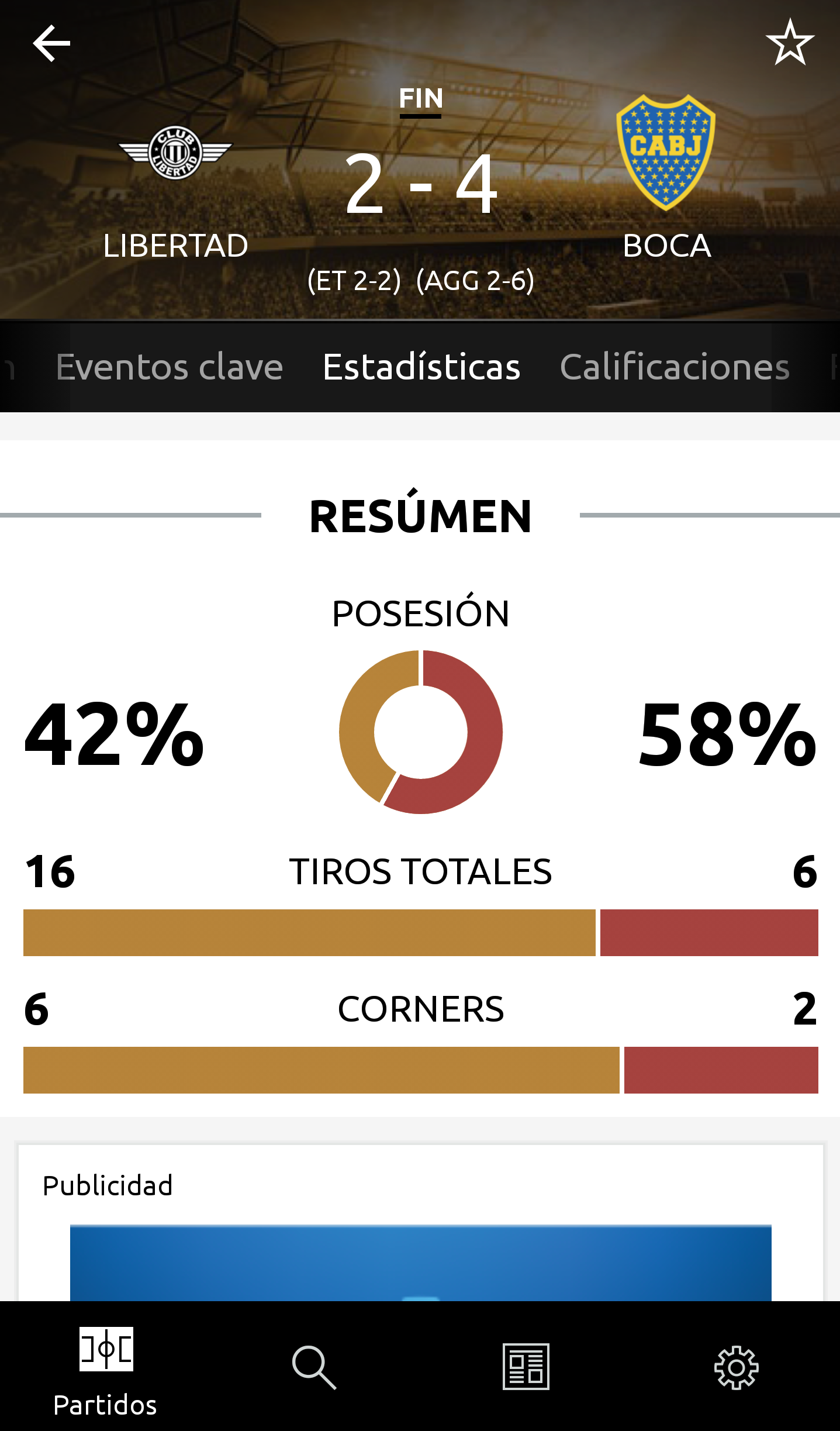 Estadísticas Screen app Libertadores