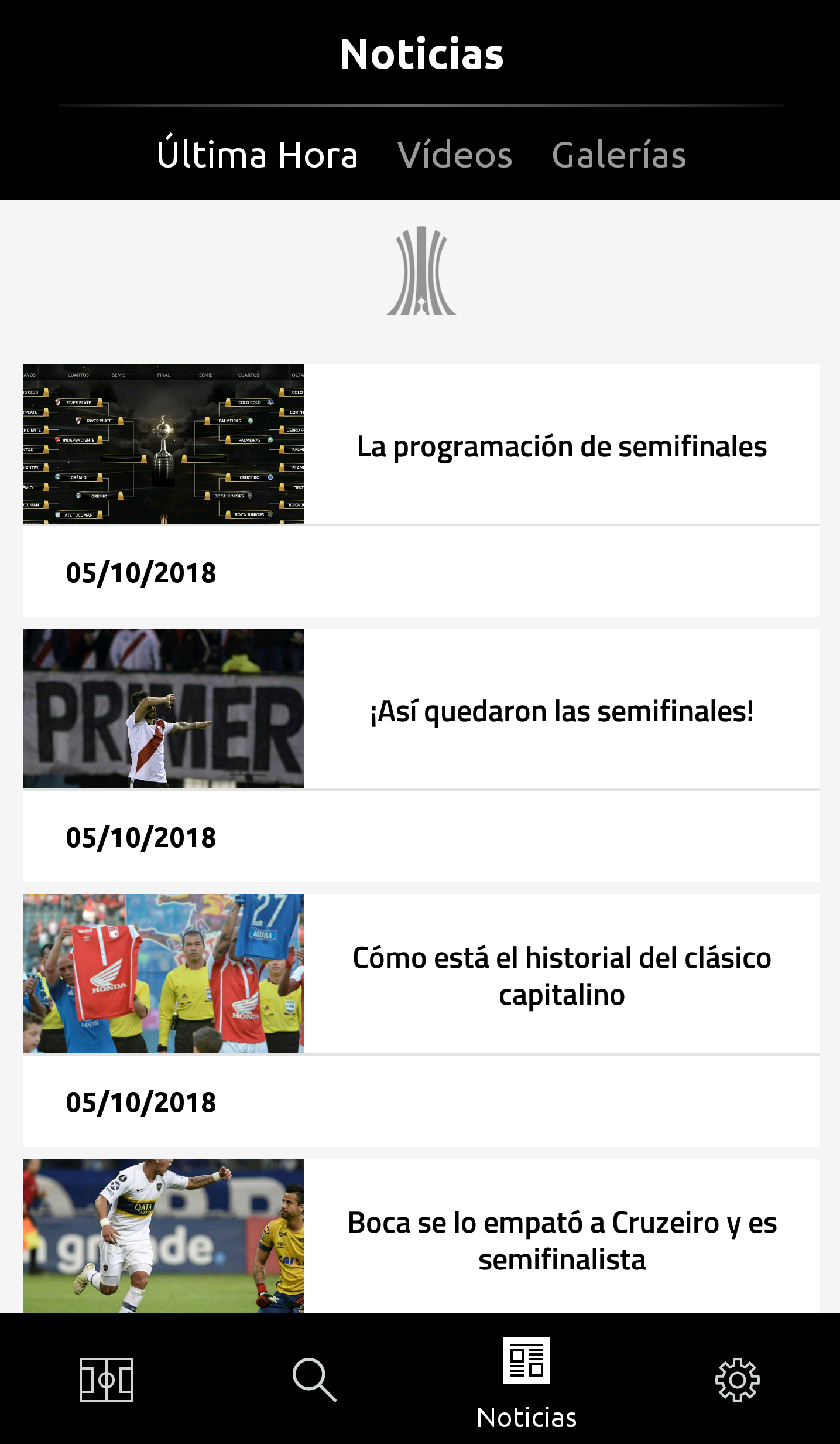 Noticias Screen app Libertadores