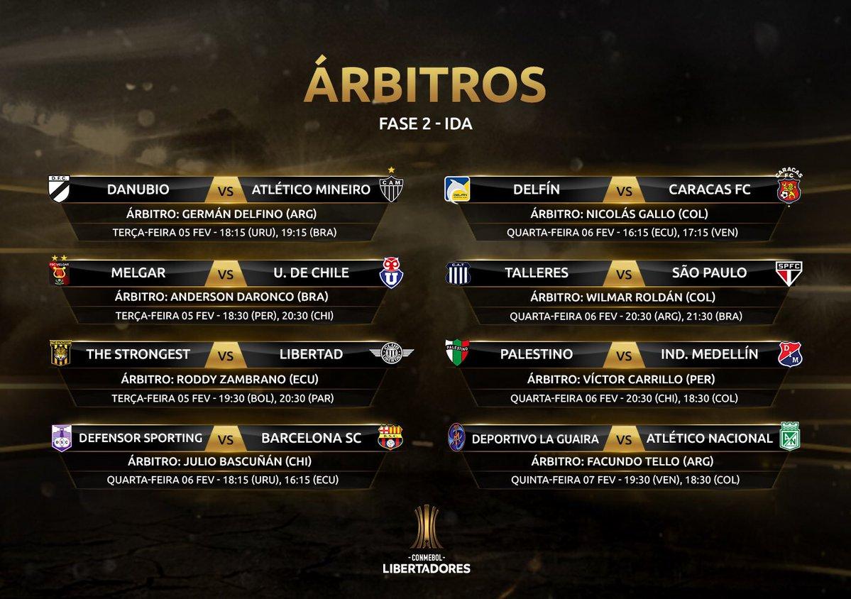 Árbitros - Libertadores Fase 2 ida