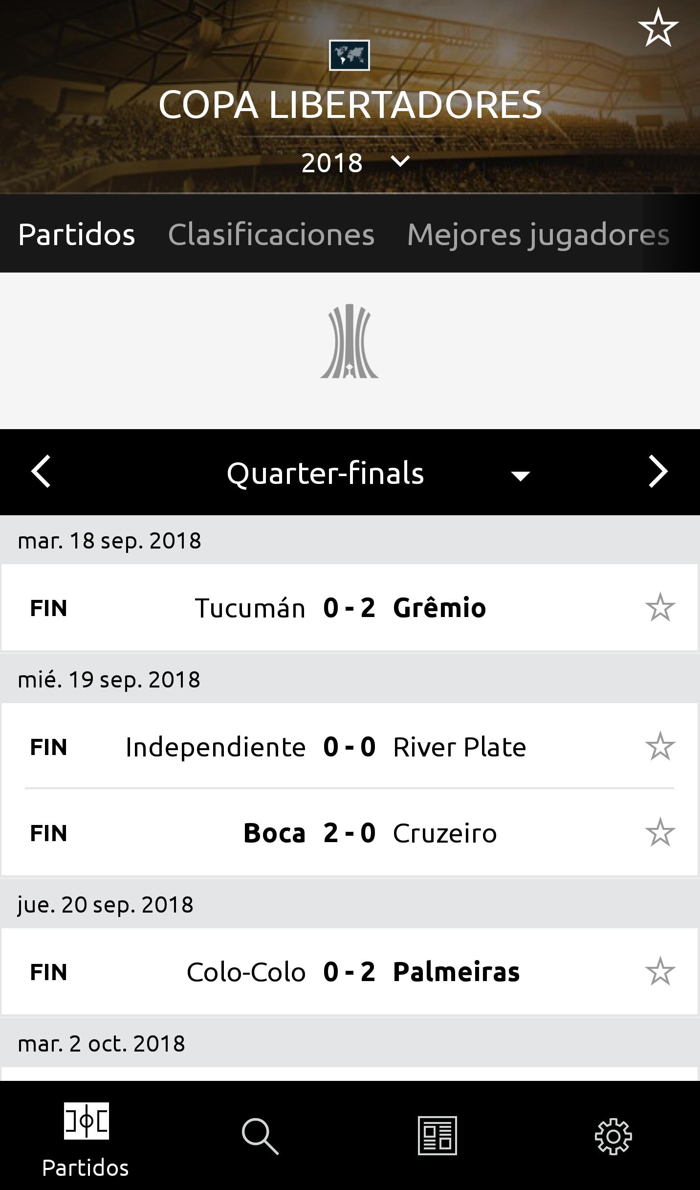 Partidos Screen app Libertadores