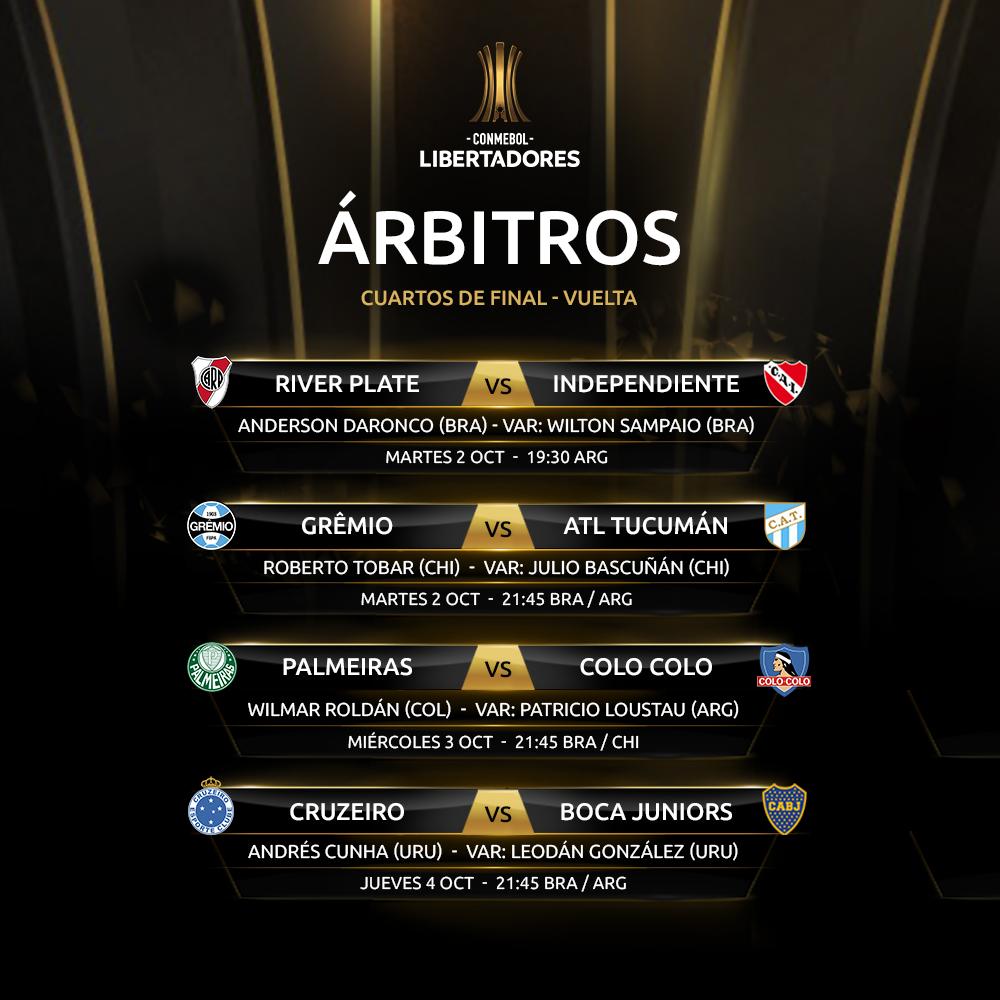 Árbitros Copa Libertadores cuartos de final