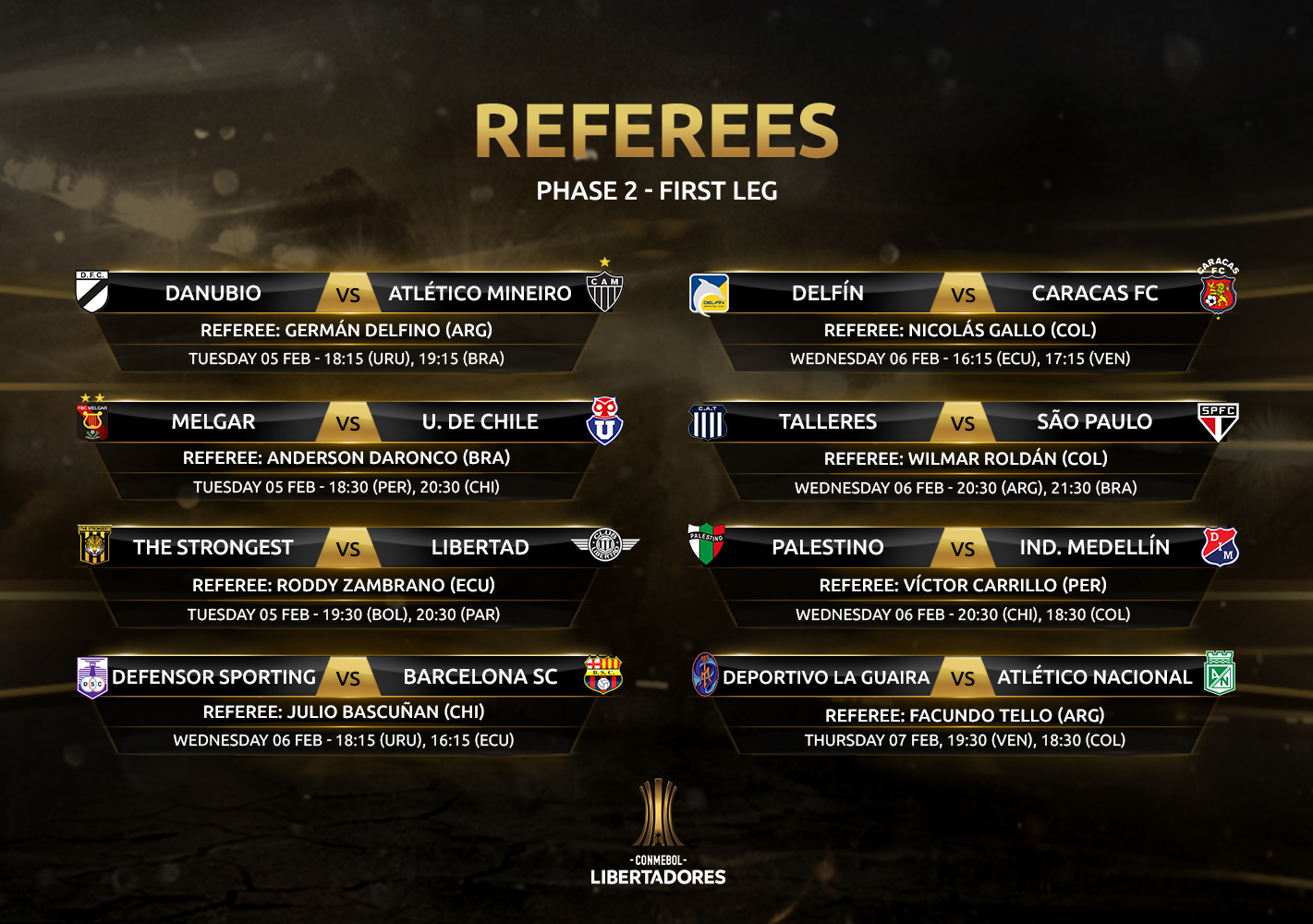 Referees 1st leg, Phase 2