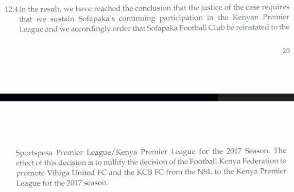Ruling on Sofapaka and Muhoroni Youth 1