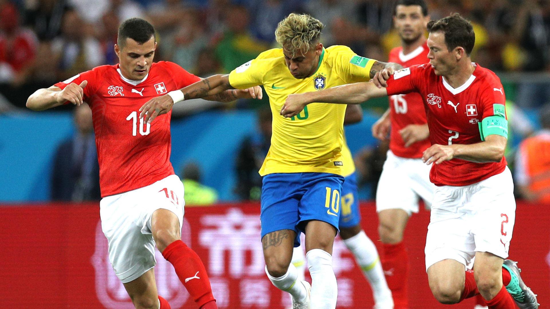 Neymar Granit Xhaka Stephan Lichtsteiner Brazil Switzerland World Cup