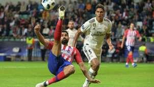 Diego Costa Raphael Varane Atletico Madrid Real Madrid UEFA Super Cup 2018