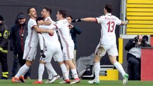 Milan celebrating Udinese Milan Serie A