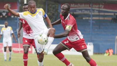 Harambee Stars defender Jockins Atudo v Swaziland.