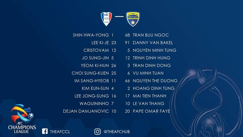 Suwon Samsung Bluewings FLC Thanh Hóa Vòng play-off AFC Champions League 2018