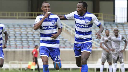 Andrew Tololwa and Alexis Kitenge of AFC Leopards.