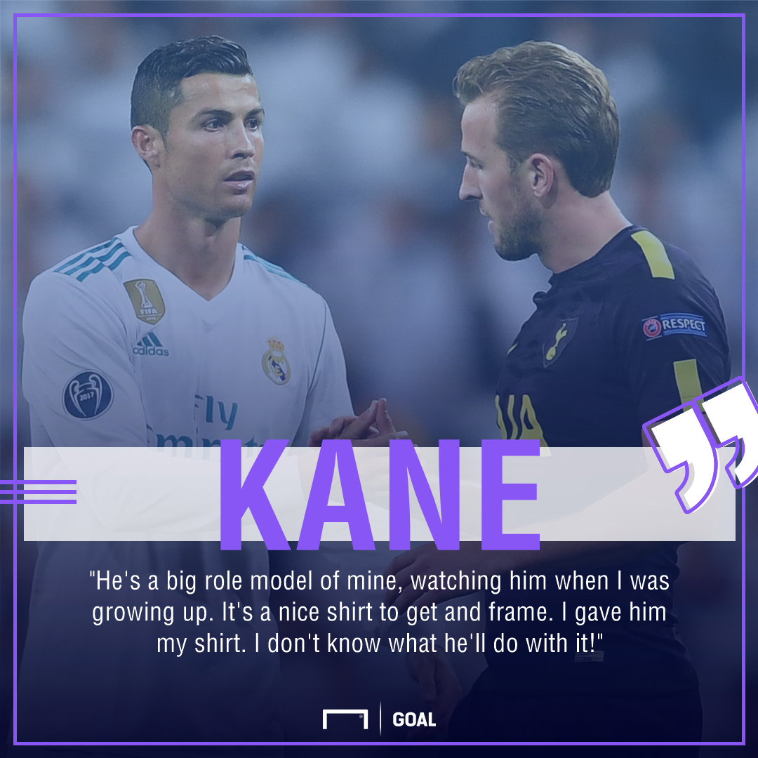 Harry Kane Cristiano Ronaldo role model shirt swap