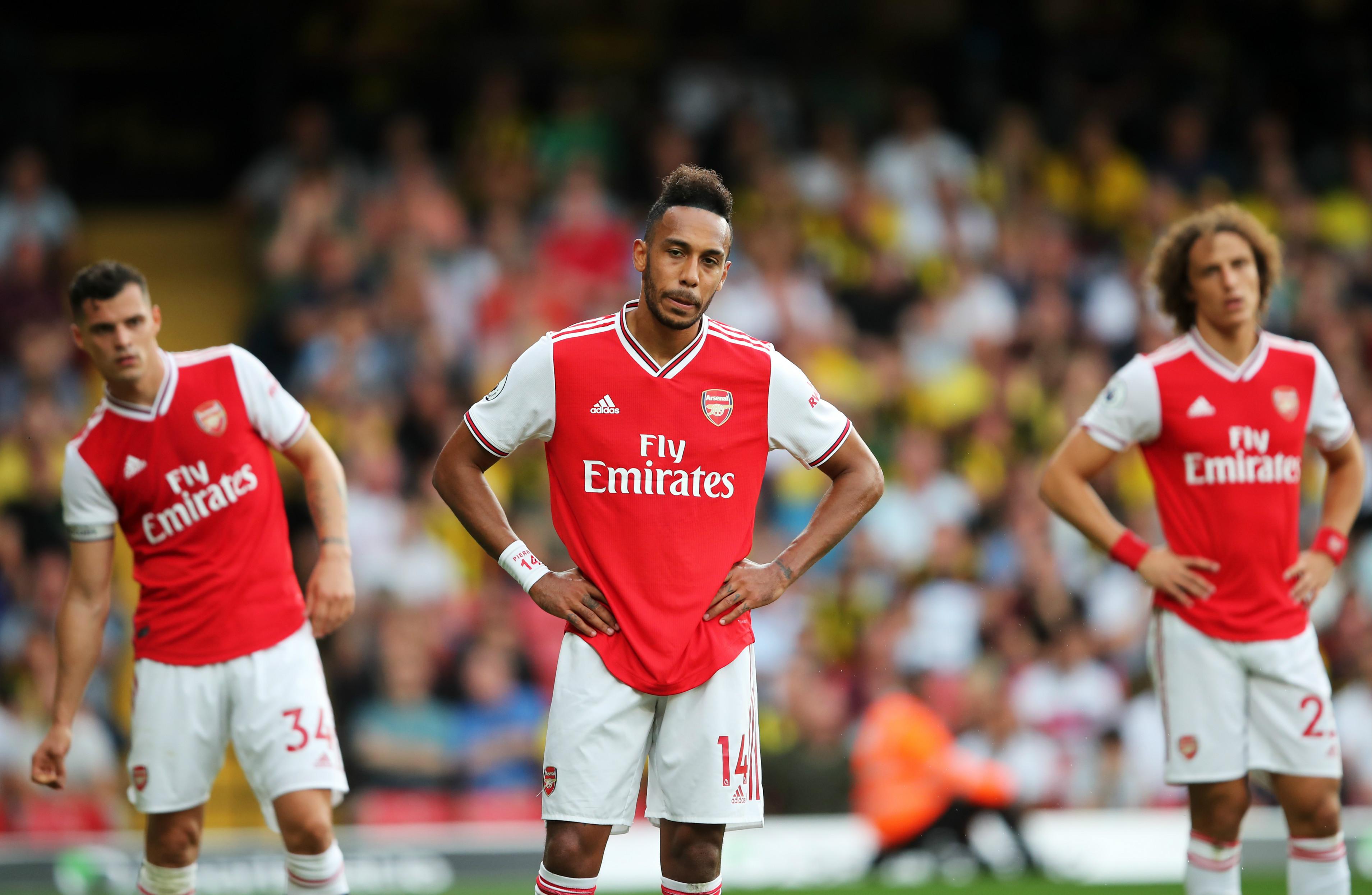 David Luiz, Pierre-Emerick Aubameyang, Granit Xhaka, Watford v Arsenal, 2019